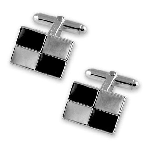 Sterling Silver Mother of Pearl & Onyx Cufflinks