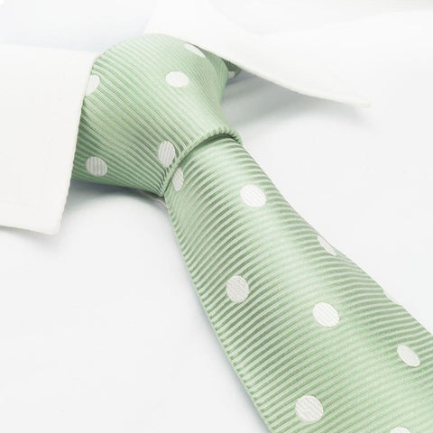 Mint Green Silk Tie With White Polka Dots