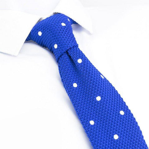 Royal Blue Polka Dot Knitted Square Cut Tie