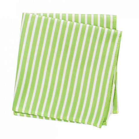 Green & White Striped Woven Silk Handkerchief