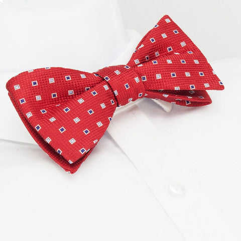 Self-Tie Red Square Pattern Silk Bow Tie