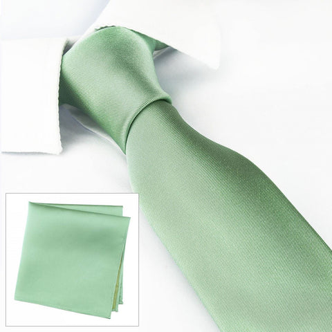 Slim Plain Mint Green Silk Tie & Handkerchief Set