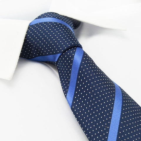 Navy Striped Pin Dot Silk Tie