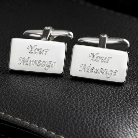 Rectangle Engraved Sterling Silver Plated Cufflinks