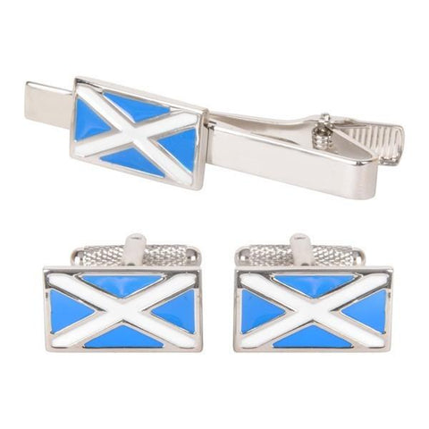 Scottish Flag Cufflinks & Tie Bar Gift Set
