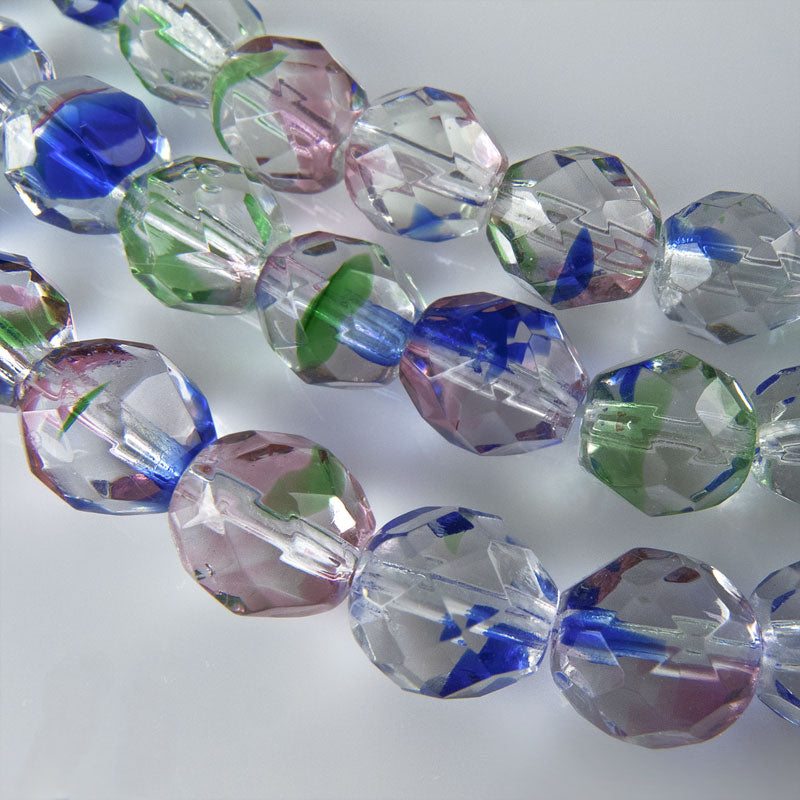 Contemporary Czech firepolished 8mm rainbow crystal faceted rounds package of 10. b11-cr-0871(e)