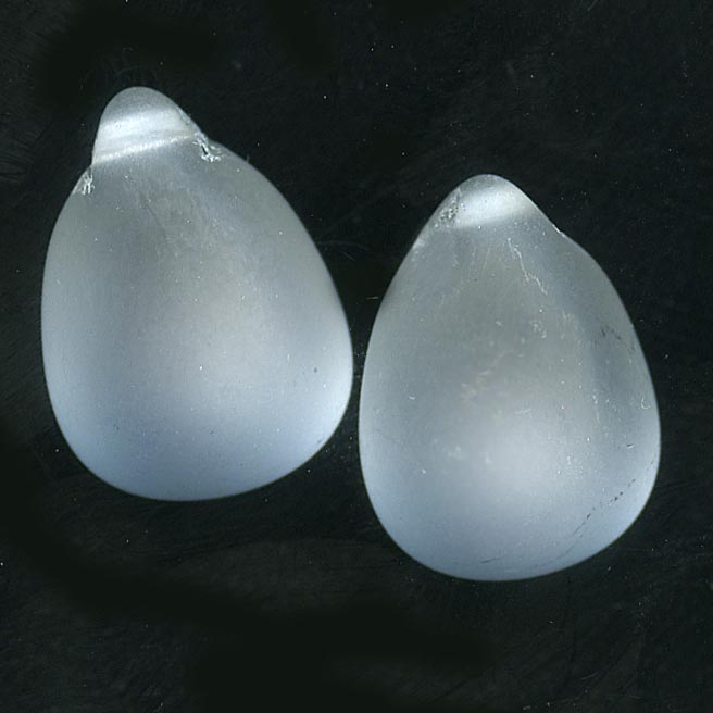 Old Czech frosted glass teardrop pendant. 21x13mm Pkg. of 2. b11-cr-0551(e)