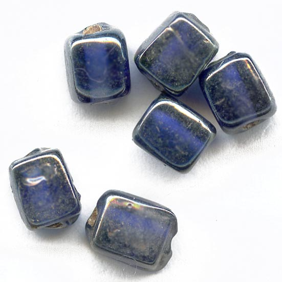Vintage blue cubes with silvery luster, 8x6mm pkg of 10. b11-bl-1113