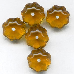Vintage amber glass fluted saturn beads, 8x6mm pkg of 15. b11-yo-0918(e)