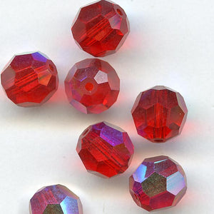 Vintage Swarovski light Siam aurora borealis faceted rounds Art. 199, 7mm pkg of 4. b11-rd-0798(e)
