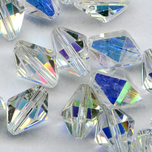 Swarovski crystal aurora borealis diamond bead Art. 5121. 8.5x6.5mm pkg of 4. b11-cr-0559(e)