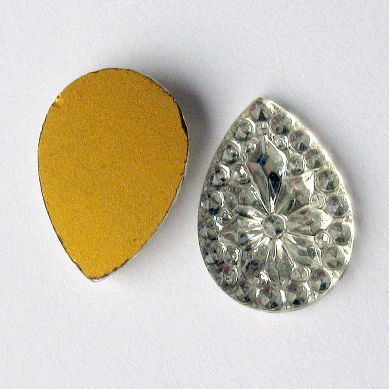 Vintage foiled flat back molded crystal teardrop. 25x18mm pkg of 2. b5-584(e)