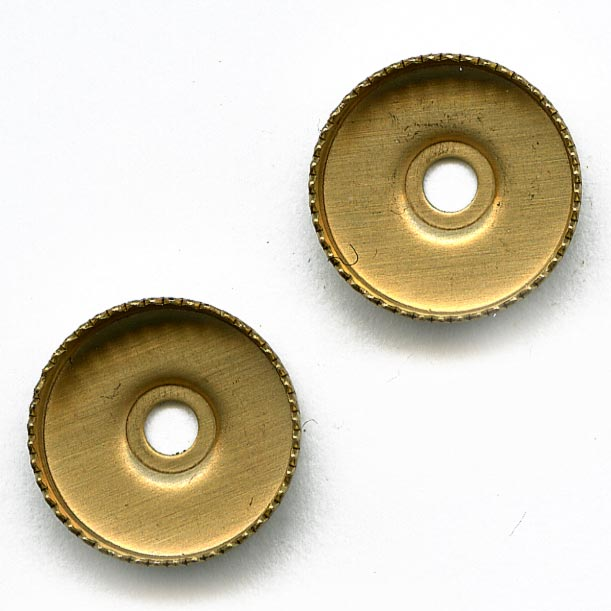 b9-0988-Vintage brass pronged bezel setting for 11mm cab. Pkg of 6