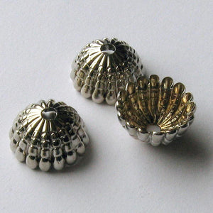 Vintage silver metal fluted beadcap. 8x14mm pkg of 6. b9-0989(e)