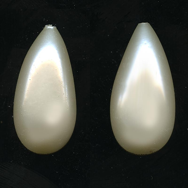 Vintage 1-hole pearl teardrop pendant. Occupied Japan, 32x15mm pkg of 1. b11-pr-0135(e)