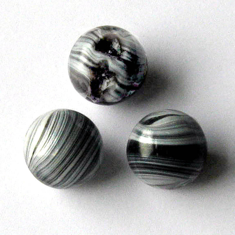 Vintage Czech swirled glass button beads, 15x16mm pkg of 2. b11-bw-0984