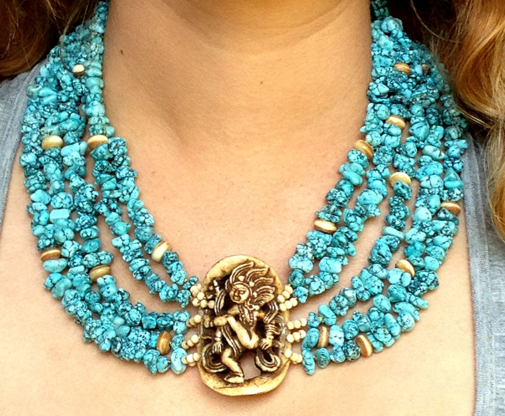 Vintage Multistrand Blue Turquoise And Yak Bone Necklace Earthly Adornments