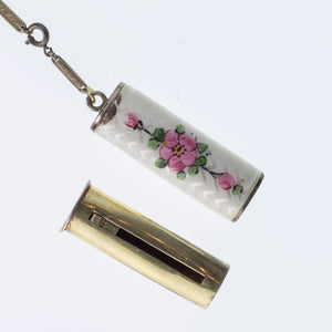 Art Deco white guilloche enamel compact and lipstick case. cpad238