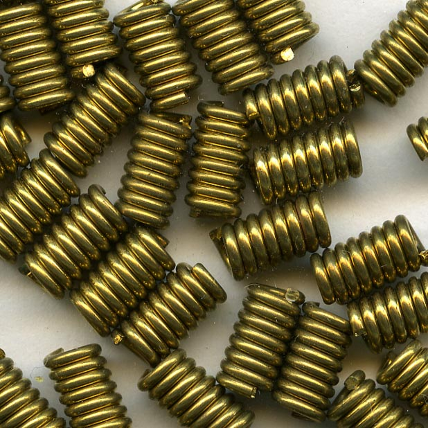 Coiled brass wire cylinder beads, 8x4mm pkg of 20. b18-0269(e)