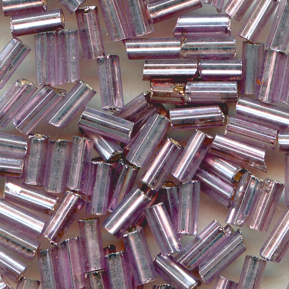 Vintage Japanese silver-lined lilac bugle beads. 5x2mm. 10-gr. bag. b17-127(e)