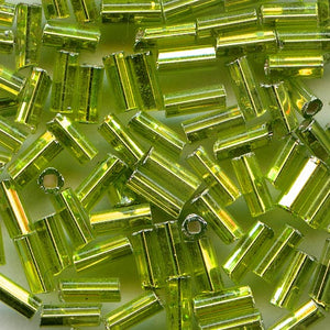 Vintage Czech silver-lined peridot green bugle beads. 5x2mm. 10-gr. bag. b17-129(e)
