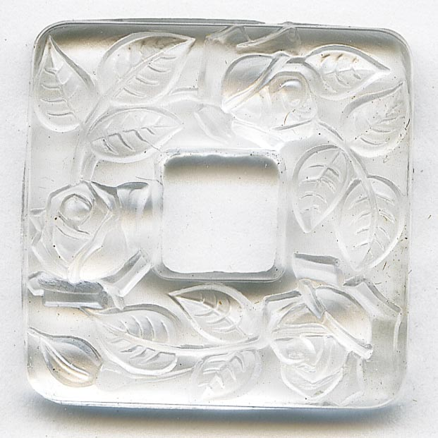 1920s Bohemian molded glass square rings with vine pattern 24x24mm pkg of 1. b11-cr-0565