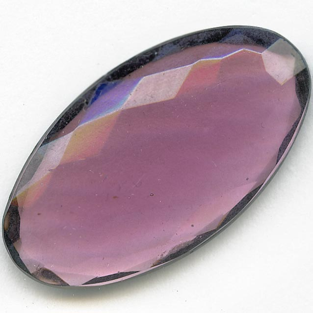 Faceted flat back amethyst glass stone. 32x18mm. Pkg of 1. b5-606(e)
