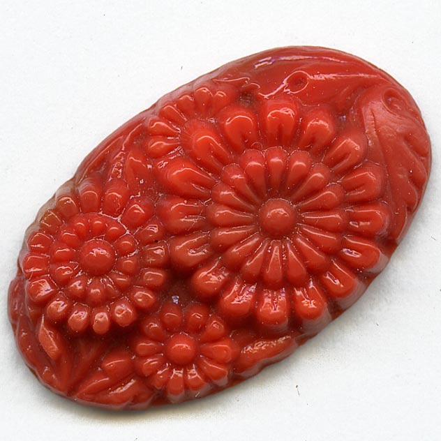 "Old Bohemian molded coral glass flat-back ""carved"" floral oval 30x18mm pkg of 1. b5-594(e)"