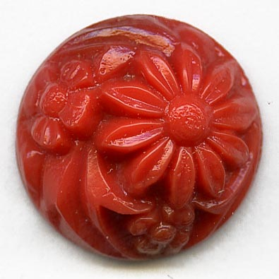 b5-604-Vintage molded coral glass round domed cabochon flower design, Japan 16mm pkg of 1