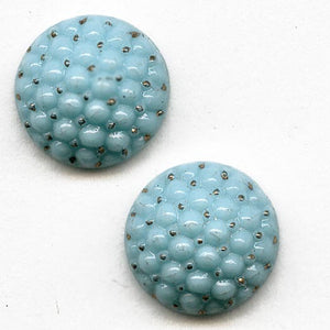 "Antique Bohemian molded ""turquoise berry"" glass cabochon ,1920's-30's Gablonz 11mm sold individually. b5-599"
