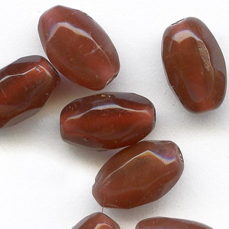 Old Bohemian faceted oval carnelian glass bead 1920s 8x5mm pkg of 25. b11-br-0751(e)