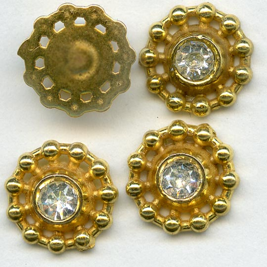 Vintage brass circular charm with center rhinestone, smooth back 10mm pkg of 6. b9-0990(e)