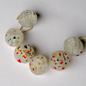 Vintage Czech frosty confetti button beads. 12mm pkg of 2. b11-bw-0982(e)