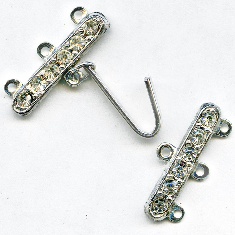 Vintage 2-part 3-strand bar clasp with hook. Rhodium plated with 6 rhinestones. 23mm width.. b8-236