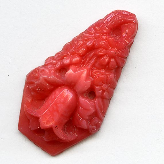 Antique Bohemian molded coral glass teardrop,1920s Gablonz, 25x14mm pkg of 2. b5-597
