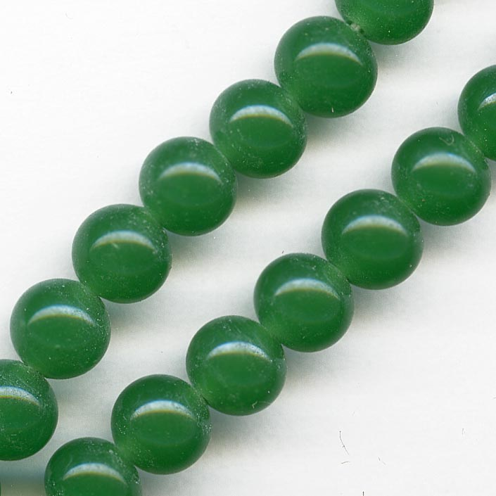 Vintage Japanese chrysoprase green glass rounds 7mm pkg of 10. b11-gr-0997(e)