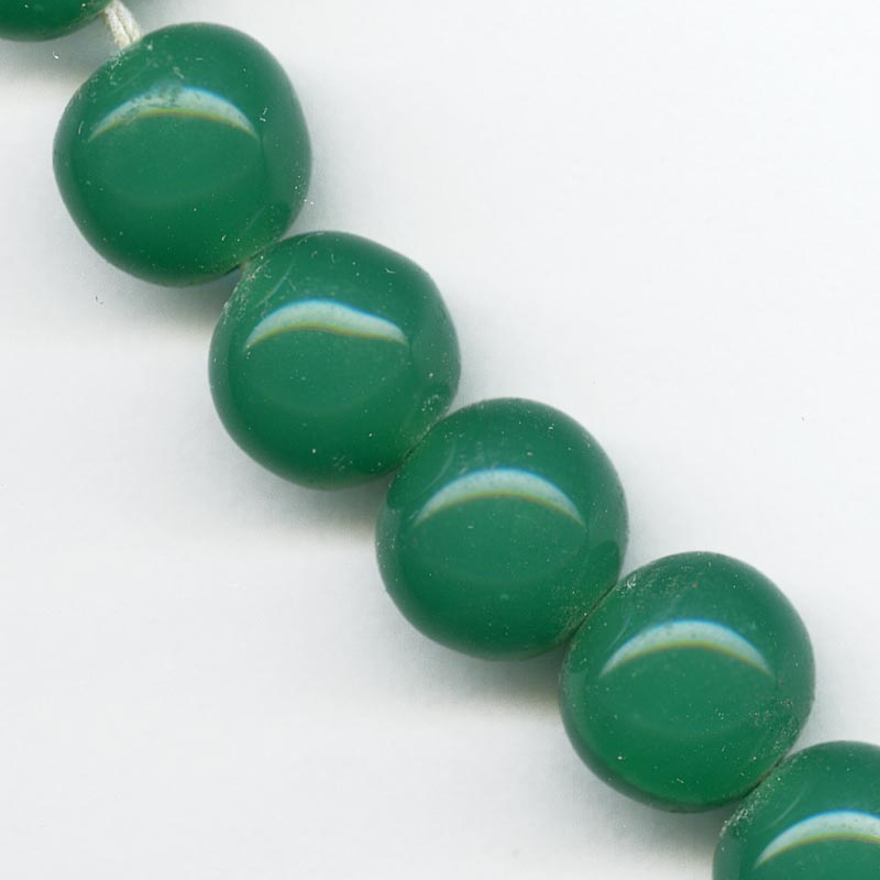 Vintage Japanese Cherry Brand chrysoprase green glass rounds 11-12mm pkg of 4. b11-gr-0996(e)