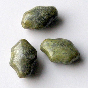 "Vintage Czech green ""granite"" glass nuggets, 28x14mm pkg of 4. b11-gr-0999(e)"