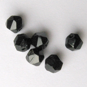 Vintage jet glass hand-faceted English cut. Czechoslovakia. 7mm Strand of 25. b11-bw-0989