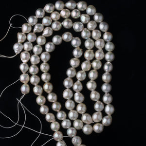 "Vintage Japanese Akoya baroque pearl 16"" strand 8mm silver AAA. b15-prl118"