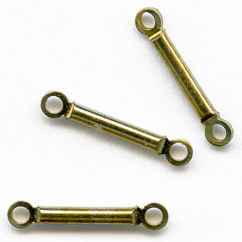 Vintage brass bar links. 14mm Pkg of 25. b9-0952(e)