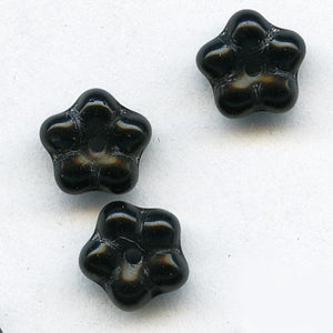 Vintage Czech black glass flower rondelle, 8mm, pkg of 25. b11-bw-0962