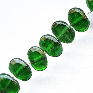 Vintage Czech foiled emerald glass flat back sew-on beads. 7x5mm. Pkg of 24. b17-120(e)