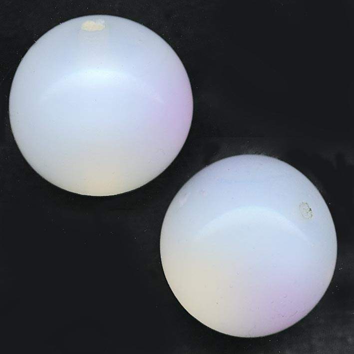 Vintage Japanese 16mm glowing opal glass rounds, pkg of 2.b11-bw-0961(e)