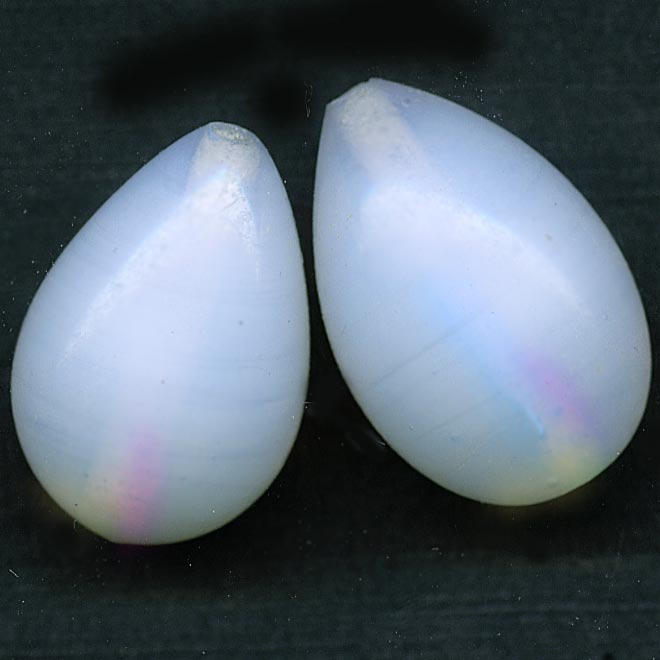 Vintage opal glass teardrop, 20x13mm, Japan, pkg of 2. B11-bw-0930(e)