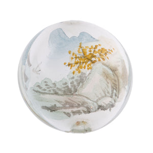 Vintage Chinese reverse hand-painted glass bead-Landscape scene 30x18mm. Sold individually. b10-0008s