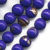 B11-BL-0849 Opaque royal blue glass round with goldstone. 6mm.
