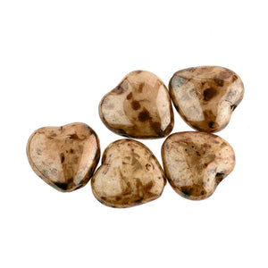 B11-BR-0308 Vintage Czech Picasso Glass Hearts. 9mm. Pkg of 5