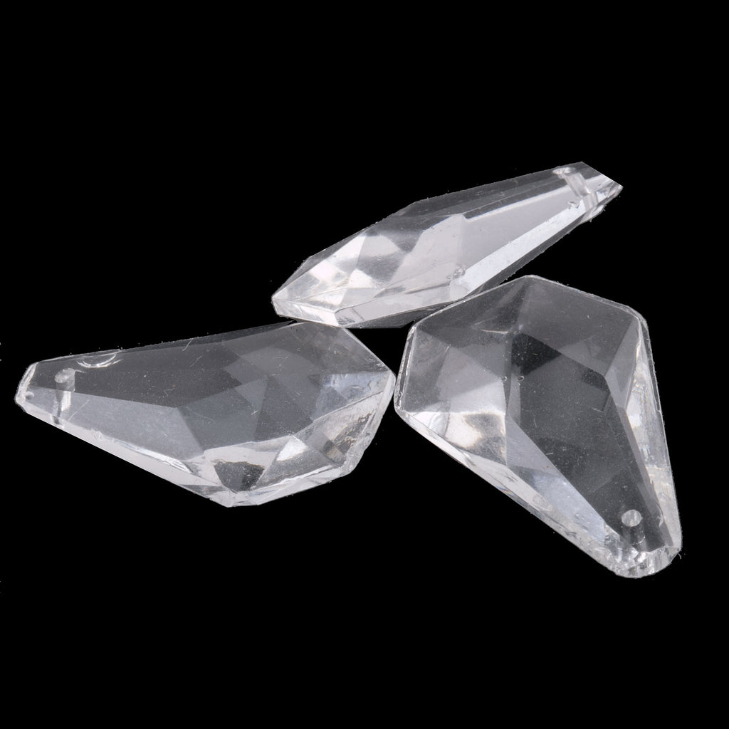 Vintage 20x22mm faceted clear glass drop pendant hole front to back. Pkg. of 4. b11-cr-0898