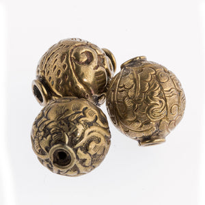 Hand made brass repousse beads Nepal. 22x20mm. Pkg of 1. b18-0224b